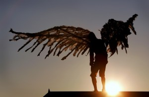 a very old man with emromous wings